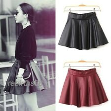 Women  uf Faux Leather Mini Skirt High Waisted Flared Pleated Skater Short 2 Col