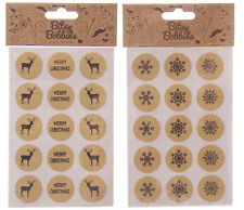 Christmas Brown Craft Stickers/Envelope Seals 2 Designs to Choose from