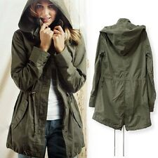 Coat Trench Hoodie Jacket Womens Hooded Parka Outerwear Military Green Army New