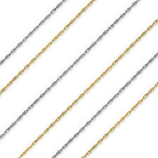 "14k Yellow or White Gold Over 925 Silver 1 mm Thick Rope Chain - 16"" 18"" 20"" 22"""