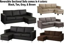 Reversible Sectional Sofa Couch Sofas Chaise Couches Brown Black Gray Khaki Tan