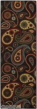 Custom Size Stair Hallway Runner Rug Rubber Back Non Skid Black Paisley #13