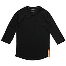 NUDIE JEANS CO QUARTER SLEEVE RAGLAN BASEBALL TEE ORGANIC COTTON BACKBONE BLACK