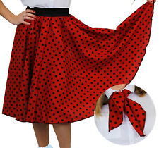 RED POLKA DOT SKIRT WITH BLACK SPOTS & SCARF 1950S ROCK AND ROLL FANCY DRESS