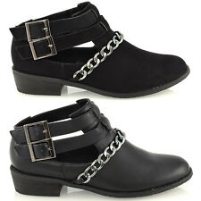 LADIES CUT OUT FLAT BLOCK LOW HEEL CHELSEA RIDING BIKER WOMENS ANKLE BOOTS SHOES