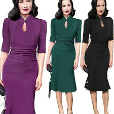 Women Celebrity Vintage Tunic Prom Cocktail Party Evening Mermaid Midi Dress NZT