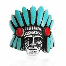 Handmade Native American Indian Turquoise and Coral .925 Silver Ring (Thailand)