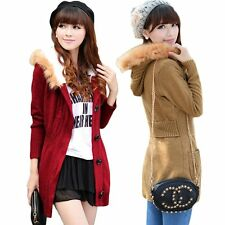Autumn Fashion Women Fur Collar Plus Velvet Hooded Jackets Slim Sweet Knit Khaki