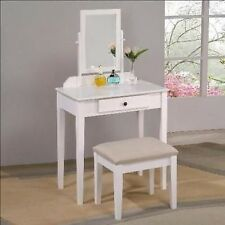 Amazing White/Espresso Vanity Makeup Set, Stool & Mirror new