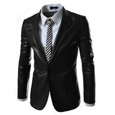 Classic Men's Pu Leather One Button Suits Blazer Casual Coat Jacket UK XS S M L