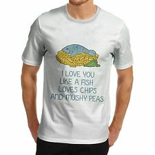 Men Cotton Novelty Culinary Theme Love You Like Fish And Chips T-Shirt