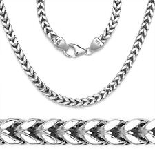 Mens 14K White Gold 925 Sterling Silver Box Franco Italy Chain Necklace 3mm-5mm