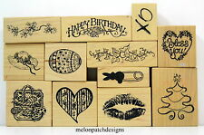 12 PSX FLOWER SAYING HEART EASTER EGGS LIPS HAT Small Rubber Stamps YOU PICK