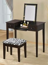 Vanity Set with Flip Mirror Top and Zebra Print Stool in Espresso or White