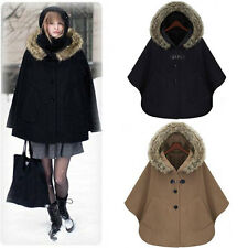 Women Warm Fur Collar Hoody Batwing Cape Poncho Cloak Outwear Jacket Coat Parka