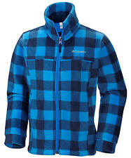 COLUMBIA Boys' Zing II Fleece Jacket Blue Checkered Long Sleeve WB6761 NEW NWT