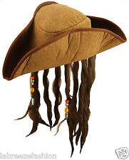 Adult Caribbean Pirate Hat with Hair & Beads ,Brown