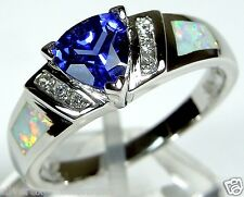 Trillion Tanzanite & White Fire Opal Inlay 925 Sterling Silver Ring 7, 8, 9