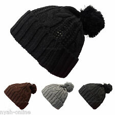 NEW KNITTED BOBBLE HAT *BLACK* PLAIN WARM BEANIE WOOLY WINTER CABLE KNIT CAP
