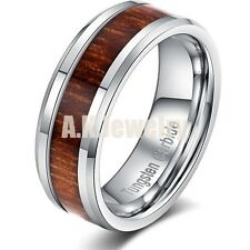 6mm/8mm His Her Tungsten Carbide Inlay Real Acacia Wood Brown Wedding Band Ring