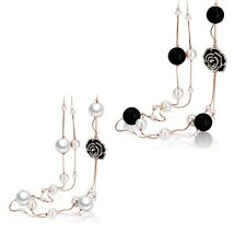 Black Pearls White Camellia Long Chain Sweater necklace 18k Rose GP N820-N821