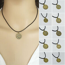 Vintage Black Leather Chain Bronze 12 Constellation Pendant Necklace Gift Xmas