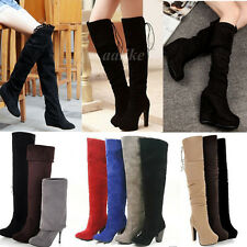 Fashion Winter Women Over Knee Thigh Suede Stretch Slouchy High Heel Boots Shoes
