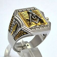 925 Silver Masonic Ring 20 grams White & Yellow Gold Plated, Unique, Handmade