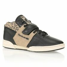 New Mens Reebok Workout Trainers, Sports Shoes, Sneakers Leather Black Authentic