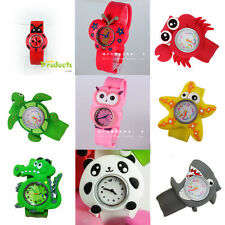 1pc Slap Snap On Silicone Sports Quartz Wrist Watch Animal/Insect Kids Gift Toy
