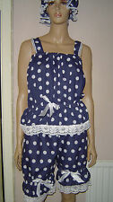 NAVY BLUE WHITE POLKA DOT VICTORIAN EDWARDIAN STYLE SWIM COSTUME BLOOMERS TOP