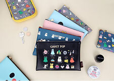 GMZ Ghost Pop Daily Leather Pouch Bag multi make up case cosmetics M Size Korea