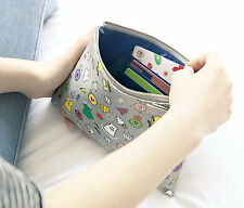 GMZ Ghost Pop Daily Leather Pouch Bag multi make up case Large size Korea made