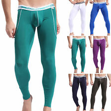 Cheap~Sexy Slim Warmer Men Smooth Underpants Long Pants GYM Thermal Underwear S