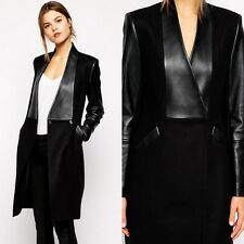 Fashion Women Faux Leather Turn-Down Jacket Trench Coat