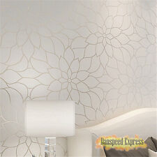 10 M Modern Simple Style Damask Flocking Non-Woven Wallpaper Rolls Bedroom TV