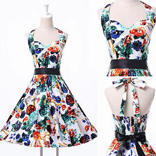 ◆US CHEAP◆ Vintage Retro Flower Print Evening Prom Xmas Party Pinup Swing Dress