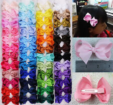 12/16/28/50pc 3inch baby Girl Solid/Pure color Hair Bows Clip Children hairpins