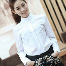 Womens Celebrity Style Peter Pan Collar Shirt Solid White Tops Career Blouse do