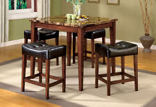 Rockford III Faux Marble Top Dark Oak Finish 5pc Counter Height Dining Set Room