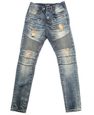 Biker Jeans BALMAIN-Style Distressed Moto Blue Embellish NYC Denim Brand New