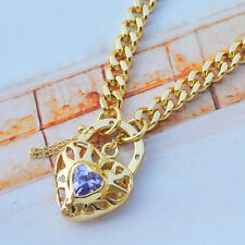 "9K Yellow Gold Filled Euro Bracelet With Sparkly Stone Heart Locket ""Stamp 9K"""