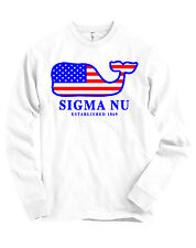 Sigma Nu AMERICAN APPAREL Long Sleeve Sig Nu T Shirt USA Whale Flag NEW