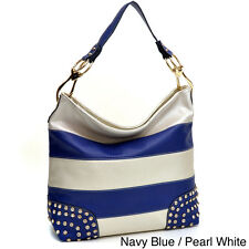 Striped Rhinestone-studded Flat-bottom Hobo Bag
