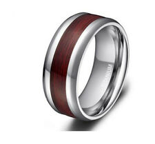 8mm Men's Silver Titanium Ring Wood Grain Inlay Beveled Edges Wedding Band Ring