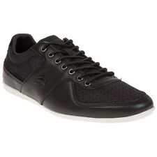 New Mens Lacoste Black Taloire 12 Leather Trainers Lace Up