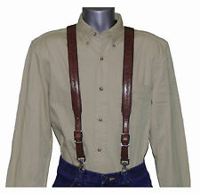 Brown Barbed Wire Leather Suspenders with trigger scissor snaps no slip