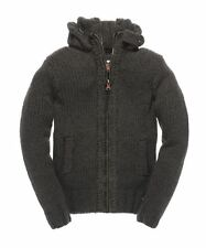 New Mens Superdry Super Bosun Full-Zip Knit Cardigan Dark Heather Grey