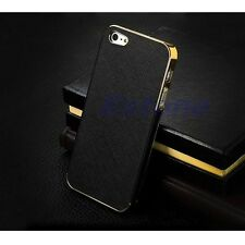 Sale Luxury Leather Chrome  Frame Hard Case Cover For iPhone 5G 5S Hot