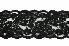 "4-1/8"" Black Raschel Lace Trim Handsewn Floral Pattern Cording Scalloped"